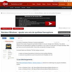 Narrateur Windows : ajouter une voix de synthèse francophone
