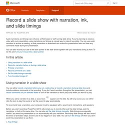 Record a slide show with narration, ink, and slide timings - PowerPoint