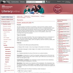 Narrative / Features of text forms / Reading / Reviewed resources / Teacher needs / English Online / English - ESOL - Literacy Online website - English - ESOL - Literacy Online