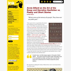Annie Dillard on the Art of the Essay and Narrative Nonfiction vs. Poetry and Short Stories