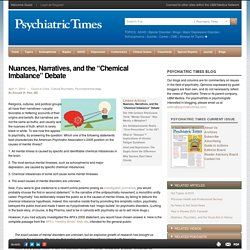 "Nuances, Narratives, and the ""Chemical Imbalance"" Debate"