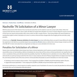 Nashville TN Solicitation of a Minor Lawyers, Sex Offense Attorney