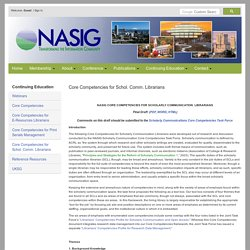 NASIG Core Competencies for Scholarly Communication Librarians -