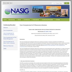 NASIG NASIG Core Competencies for Electronic Resources Librarians -