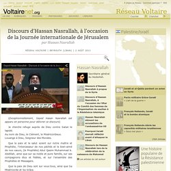 Discours d'Hassan Nasrallah, à l'occasion de la Journée internationale de Jérusalem, par Hassan Nasrallah