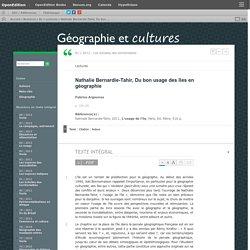 Nathalie Bernardie-Tahir, Du bon usage des îles en géographie