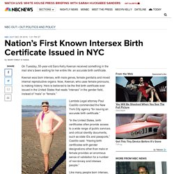 Nation's First Known Intersex Birth Certificate Issued in NYC