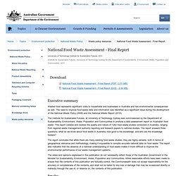 AUSTRALIAN GOVERNMENT - 2012 - National Food Waste Assessment - Final Report