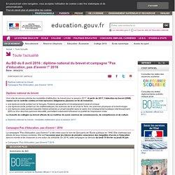 """Au BO du 8 avril 2016 : diplôme national du brevet et campagne """"Pas d'éducation, pas d'avenir !"""" 2016"""