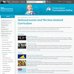 National events and the NZC / Curriculum resources