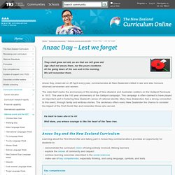 Anzac Day – Lest we forget / National events and the NZC / Curriculum resources