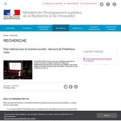 Plan national pour la science ouverte : discours de Frédérique Vidal