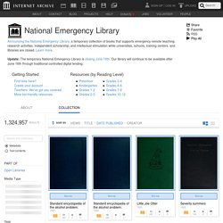 National Emergency Library : Free Texts : Free Download, Borrow and Streaming