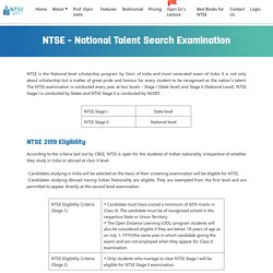 NTSE 2020 - National Talent Search Examination