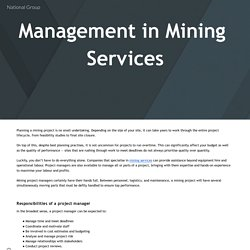 Management in Mining Services