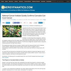 National Cancer Institute Confirms Cannabis Can Cure Cancer
