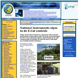 National Instruments signs to do E-Cat controls