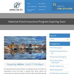 National Flood Insurance Program Expiring Soon