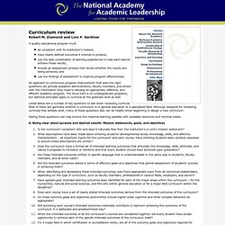 The National Academy for Academic Leadership: Curriculum review