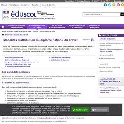 Diplôme national du brevet - Modalités d'attribution du diplôme national du brevet