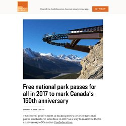 Free national park passes for all in 2017 to mark Canada's 150th anniversary