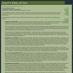 Ten National Poetry Month Activities