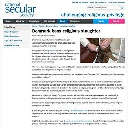 Denmark bans religious slaughter