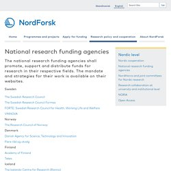 National research funding agencies — NordForsk