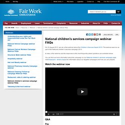 National children's services campaign webinar FAQs - Webinars - Resources
