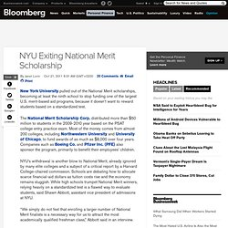 NYU Exiting National Merit Scholarship