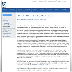 NCSS National Standards for Social Studies Teachers