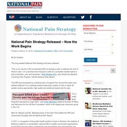 National Pain Strategy Released – Now the Work Begins – National Pain Report
