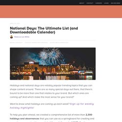 National Days: The Ultimate List (and Downloadable Calendar)