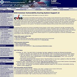 National Vulnerability Database CVSS Scoring
