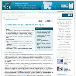 L'Agence nationale des Usages des TICE - Apprendre à résumer des textes à l'aide d'un logiciel