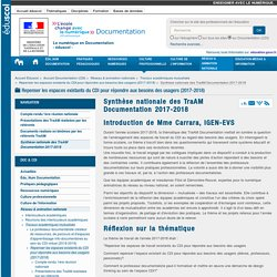 Synthèse nationale des TraAM Documentation 2017-2018 — Documentation (CDI)
