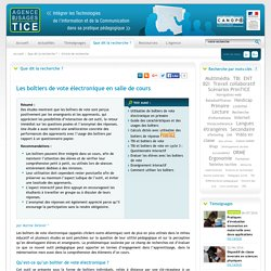 L'Agence nationale des Usages des TICE - Les boîtiers de vote électronique en salle de cours