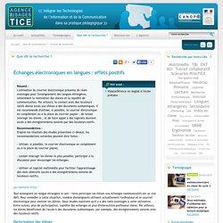 L'Agence nationale des Usages des TICE - Échanges électroniques en langues : effets positifs