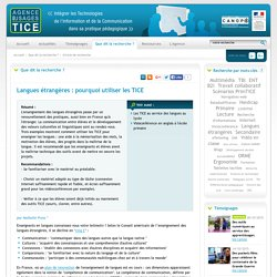 L'Agence nationale des Usages des TICE - Langues étrangères : pourquoi utiliser les TICE