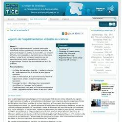 L'Agence nationale des Usages des TICE - Apports de l'expérimentation virtuelle en sciences