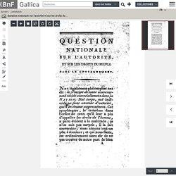 1791-92.- Question nationale sur l'autorité et sur les droits du peuple dans le gouvernement , par M. l'abbé Barruel