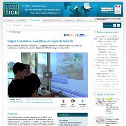 L'Agence nationale des Usages des TICE - Usages d'un manuel numérique en classe de français