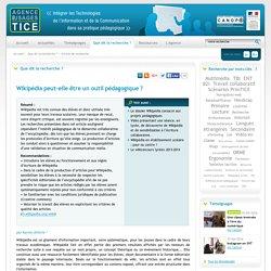 L'Agence nationale des Usages des TICE - Wikipédia peut-elle être un outil pédagogique ?