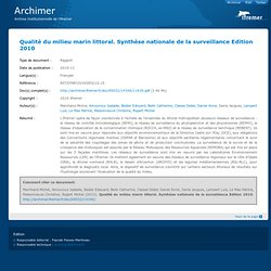 IFREMER - 2010 - Rapport : Qualité du milieu marin littoral. Synthèse nationale de la surveillance Edition 2010