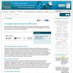 L'Agence nationale des Usages des TICE - Un usage du tableau interactif en BEP cuisine