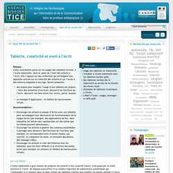 L'Agence nationale des Usages des TICE - Tablette, créativité et éveil à l'écrit