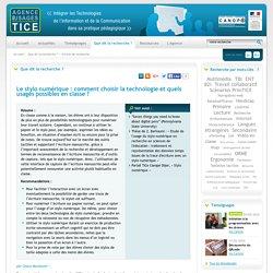 L'Agence nationale des Usages des TICE - Le stylo numérique : comment choisir la technologie et quels usages possibles en classe ?