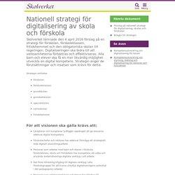 Nationell strategi för digitalisering av skola och förskola