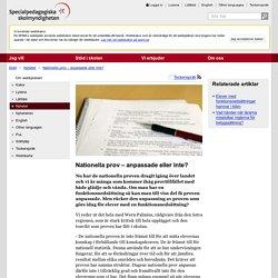 Nationella prov – anpassade eller inte? - SPSM