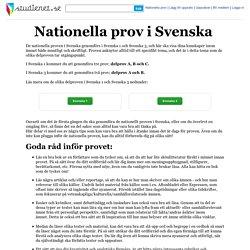 Nationella prov i Svenska - Studienet.se